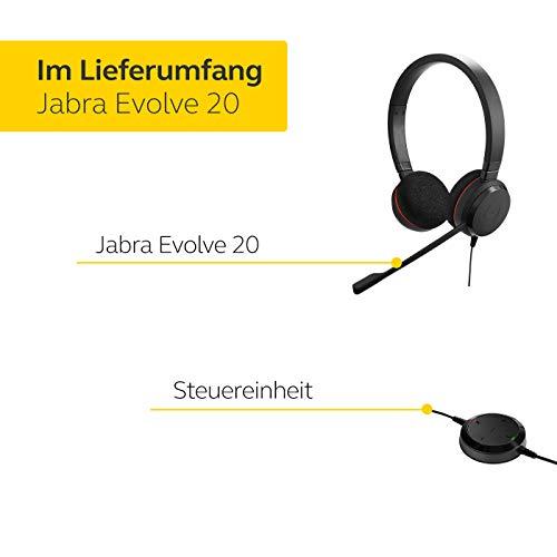 Jabra Evolve 20 UC Stereo Headset – Unified Communications Kopfhörer für VoIP Softphone mit passivem Noise-Cancelling – USB-Kabel mit Anrufsteuerung – Schwarz