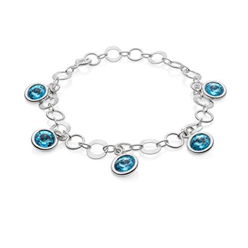 LillyMarie Damen Armkette Silber 925 Swarovski Elements Edel-Stein Hell-blau Längen-verstellbar Geschenkverpackung Geburtstag Geschenke für Frauen