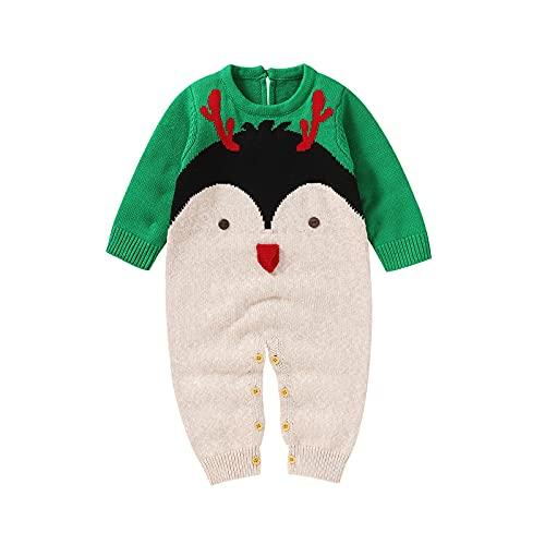 Mameluco de Bebé Suéter de Algodón Lindo Pingüino de Manga Larga de Punto de Una Pieza Mono Cálido Traje de Nieve Ropa de Invierno para Bebés para Niños Recién Nacidos Niñas