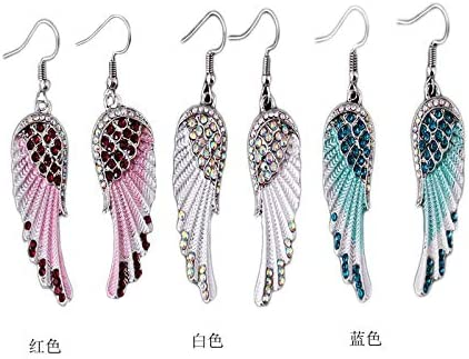 TIANHONGYAN Vintage Colorful Crystal Guardian Angel Wing Feather Dangle Earrings Charm Feather Dangle drop tassel Earrings for Women Girls