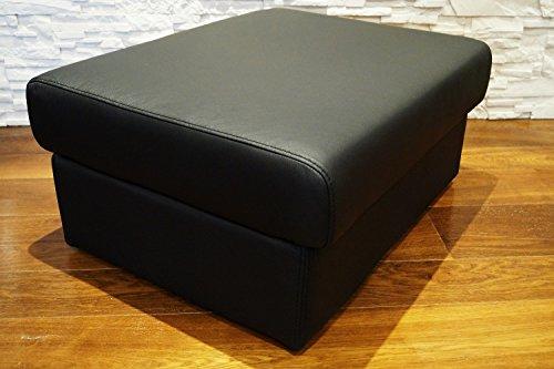 Schwarz Echtleder Hocker aufklappbar mit Stauraum Sitzhocker Rindsleder Sitzwürfel 75x55 Fußhocker Polsterhocker Echt Leder Puff