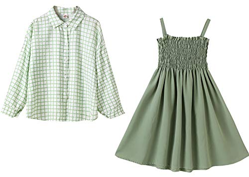 Faldas de niñas, Ropa de Primavera y otoño, Camisas de Manga Larga de Dos Piezas de Dos Piezas para niñosChildscasuallong Falda de Manga Light Green- 140cm