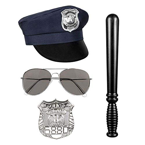 Boland 01410  Juego de polica, gorro, gafas de fiesta, insignias y puo 33 cm, color negro y plata, sheriff, polica, disfraz, carnaval, fiesta temtica