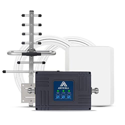 GSM 3G 4G Repeater für E-Plus T-Mobile Vodafone DREI 900/2100/1800 MHz (Band 8/1/ 3) Signalverstärker LTE Verstärker Mobilfunknetz verbessern