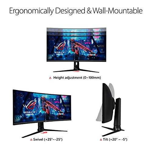 "ASUS ROG Strix 34"" Ultra-wide Gaming Monitor (XG349C) - UWQHD (3440 x 1440), 180Hz, 1ms, Extreme Low Motion Blur Sync, 135% sRGB, G-Sync Compatible, DisplayHDR 400, Eye Care, USB-C, DisplayPort, HDMI"
