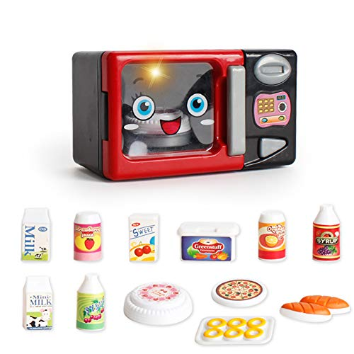 JEJA Pretend Kinderküche Spielset - Elektrischer Mikrowellenherd w / Play Food Cooking Set Batteriebetriebene Sounds & Lights Geschenk für Jungen Mädchen
