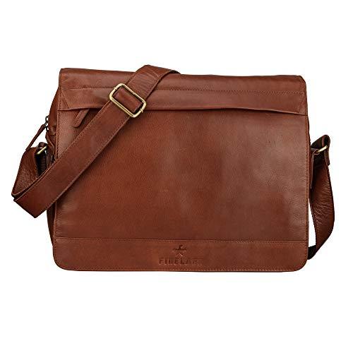 FINELAER Leder Laptop Aktentasche Schulter Messenger Bag Dark Braun