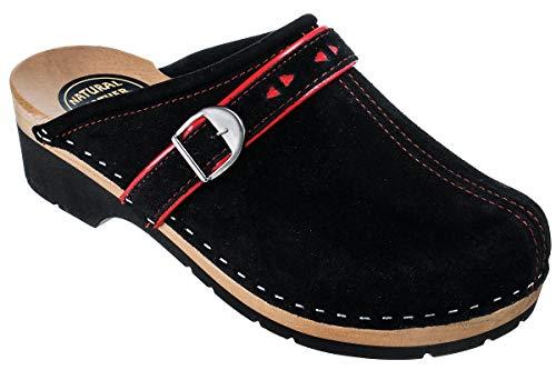 ESTRO Zuecos De Madera para Mujer Calzado Sanitario De Trabajo CDL05 (Negro, 41)