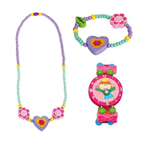 Bino 3 TLG. Set Holzschmuck Mädchenschmuck Kinderschmuck Motiv Herz Lila - Halskette Armband und Armbanduhr