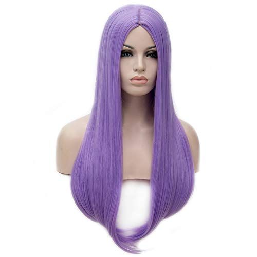 BERON 25 inches Silky Long Straight Wig Charming Women Girls Straight Wigs for Cosplay Party or Daily Use Wig Cap Included (Light Purple)