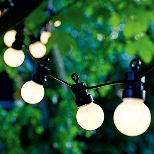 A-Generic Fairy tale light outdoor G50 LED garden fairy lamp IP44 waterproof ball fairy lamp 20 pears warm white with plug garden terrace tree party pair decoration