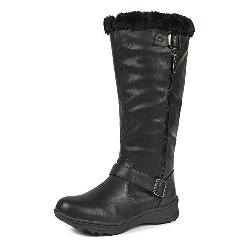 DREAM PAIRS Rabbit Women's Lady Winter Fully Fur Lined Double Buckle Ruched Snow Knee High Boots Black PU-SZ-9