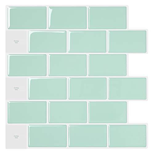 Selbstklebende 3D-Wandfliesen zum Abziehen und Aufkleben, grüne Badezimmer-Wandaufkleber, Tapeten in U-Bahn-Designs, 30,5 x 30,5 cm, 5 Stück