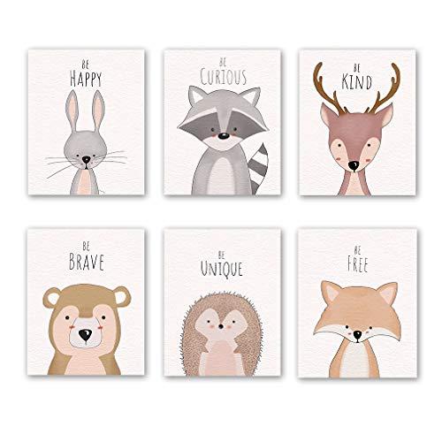 Juego de 6 impresiones de animales del bosque, safari conejo reno zorro oso con cita inspiradora sobre lienzo para pared para dormitorio infantil (sin marco, 20,3 x 25,4 cm)