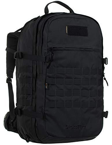 Wisport Rucksack schwarz groß + inkl. E-Book | Trekkingrucksack Damen & Herren | Backpack Tactical | Work and Travel | Survival | Buschcraft | 45-65 L | Cordura | Black | Crossfire