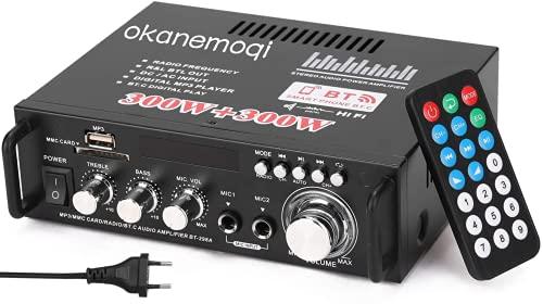 Amplificateur HiFi Stereo Amp 2.0 Channel 600 W 12V   220V LCD avec entrée USB   Bluetooth, Récepteur Audio sans Fil BT pour Voiture et Maison
