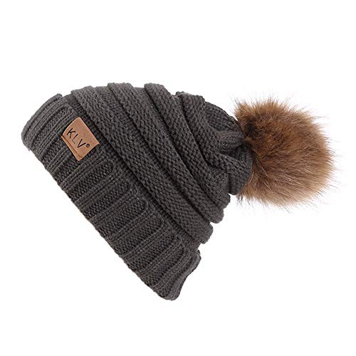 YWLINK Unisex Herren Damen Baggy Warm Mit Fellbommel HäKeln Winter Wolle Stricken Ski MüTze SchäDel Slouchy Kappen Hut(Freie Größe,Braun)