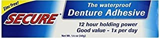 Secure Denture Adhesive Waterproof Zinc Free 1.4 Oz. Formerly Secure Denture Bonding Cream 12 Hour Holding Power Size: 1.4 OZ by Windmill