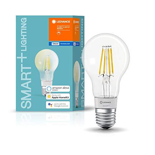 LEDVANCE Lampe LED Smart avec Bluetooth, E27, filament, dimmable, remplace les lampes à incandescence par 50W,blanc chaud (2700K),contrôlable avec Google,Alexa et Apple Voice Control,SMART+ BT CLA FIL