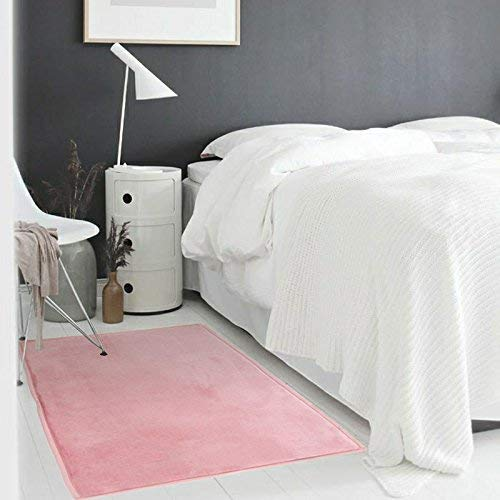Tapis Extra-Doux Effet Velour, 90cm x 60cm, Rose Poudré