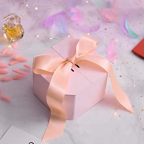 Caja de regalo pequeña, 1 paquete de caja decorativa para regalos, cajas de almacenamiento decorativas para joyas, relojes, collares, pendientes, pulseras, caja de regalo (color mezclado) (rosa)