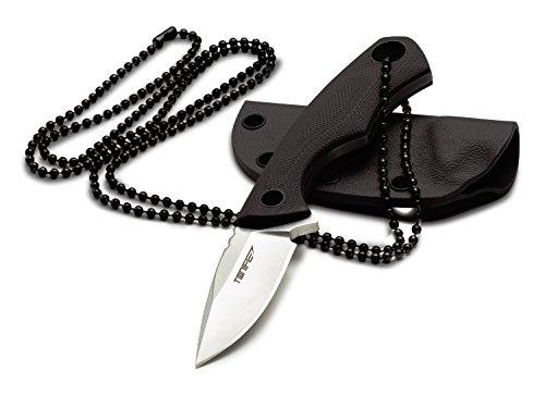 TONIFE Feste Halsmesser nackenmesser Neck Knife Tanto Klinge 43mm Total 119mm mit Kydexscheide und Kugelkette