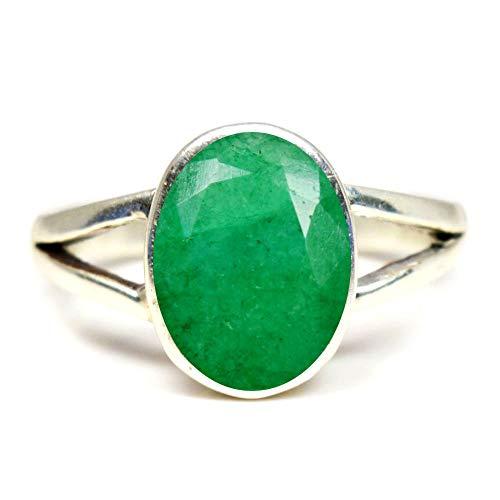 Gemsyogi Herren Damen Unisex - Sterling-Silber 925 Oval Green Smaragd