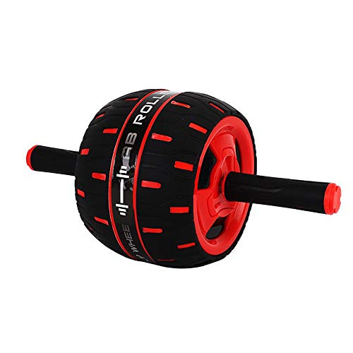MIIGA Bauchroller Bauchtrainer mit Rückholfunktion inkl. Knieschonermatte Fitnesstraining Indoor Muskelaufbau für Bauch Rücken Schultern BR-103 Schwarz/Rot