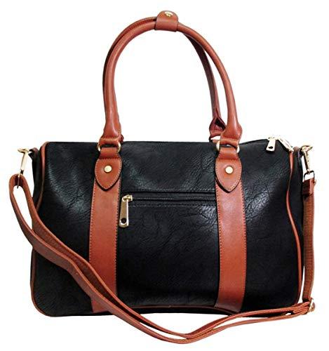 JOSVIL Bolsa de viaje deportiva mediana negra Magnifica bolsa de viaje o deportiva con dos tonalidades negra y marrón.