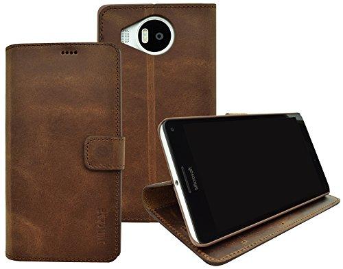 Suncase Book-Style (Slim-Fit) für Microsoft Lumia 950 XL Ledertasche Leder Tasche Handytasche Schutzhülle Hülle Hülle (mit Standfunktion & Kartenfach) antik coffee