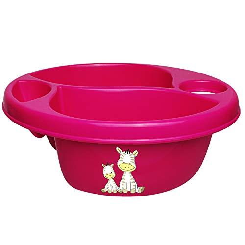 alles-meine.de GmbH 3 Kammer - Schüssel / Waschschüssel / Kinderwaschbecken - pink - rosa _ Motiv-Mix - Mädchen _ Bieco - mit Seifenablage - Organizer - Reinigungsmittel Aufbewah..