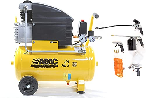 COMPRESSORE D'ARIA ABAC ART. ABAC 1129100008 LT.24 POLE POSITION 8 BAR 2HP CON KIT 8 PEZZI ART.2809913655. ABAC ULTIMO MODELLO