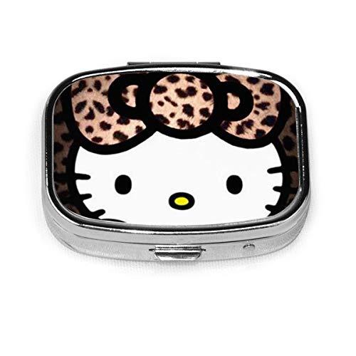 Square Pill Box- Portable Leopard Hello Kitty Medicine Organizer Holder Two Compartment Pill Case