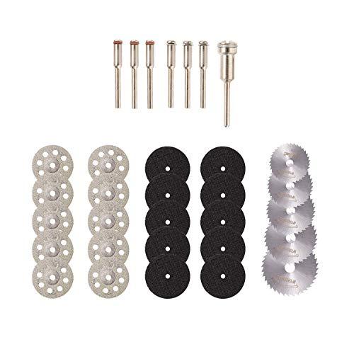 Cuasting Juego de 32 herramientas de ruedas de corte rotatorias y cuchillas de sierra circular HSS y ruedas de corte de metal de resina, herramientas de corte de madera, metal y piedra