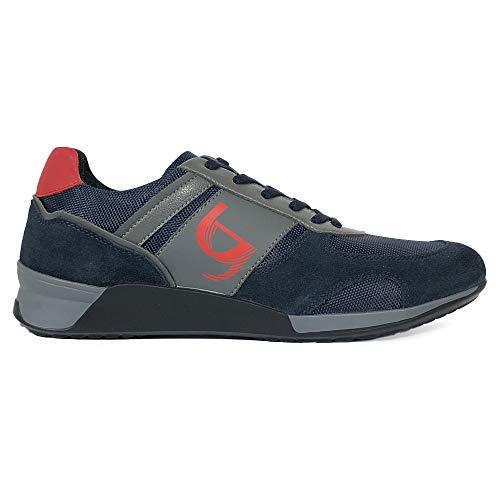 Byblos Sneakers Scarpe da Uomo Running Mix Materials Camoscio Nylon Blu Grigio Rosso (43)