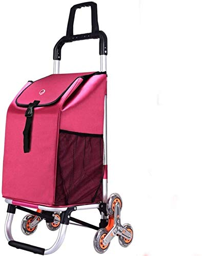 Stair Climbing Shopping Trolley With Lid And Zip Pocket,40l Capacity Waterproof,Light On 6 Wheels & Crystal Wheels Folding Shopping Cart Strong & Stable Mobility Aid For Shopping 1019 ( Color : C )