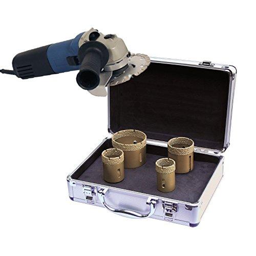 ADT tegelboorkronen set M14 4-delig in koffer incl. haakse slijper voor graniet, tegels en fijnsteengoed