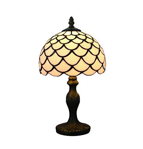 Tokira Vintage Tiffany Tischlampen Weiße 8 Zoll, Tiffany Tischlampe Antik Original, Glasmalerei Lampen Schlafzimmer Nacht Lampenschirme Einfachen Stil Wohnzimmer