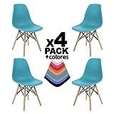 duehome - Nordik- Pack 4 sillas, Silla de Comedor, Salon, Cocina o Escritorio, Acabado en Madera de Haya, Medidas: 47 cm Ancho x 56 cm Fondo x 81 cm Altura (Turquesa)