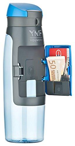 YOUMEFIT Trinkflasche mit Fach - 750ml - Sport Wasserflasche – Sportflasche blau