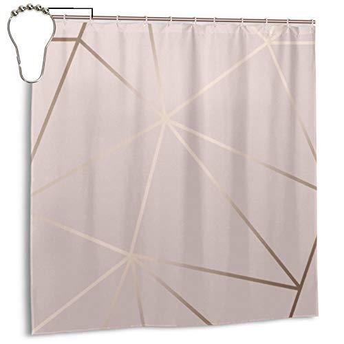 Zara Duschvorhang, schimmernd, metallisch, weich, rosa, rotgold, Duschvorhang für Badezimmer, wasserdicht, Polyester mit Metallhaken, 183 x 183 cm