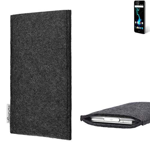flat.design Handy Hülle Porto für Allview P6 Pro handgefertigte Handytasche Filz Tasche Schutz Case fair dunkelgrau