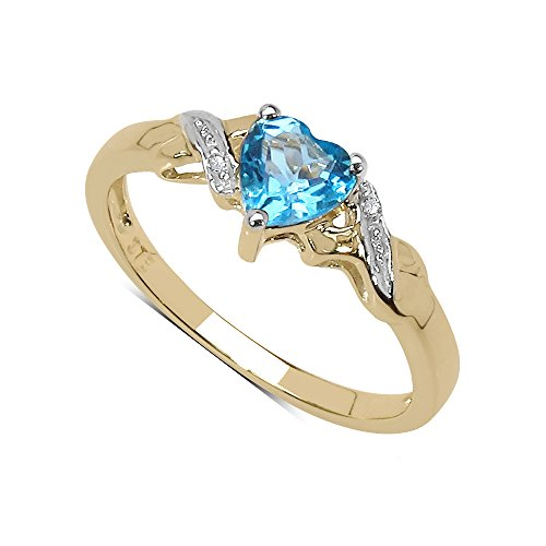 The Blue Topaz Ring Collection: 9ct Gold Small Heart Shaped Swiss Blue Topaz & Diamond Engagement Ring (Size K) Valentines Gift