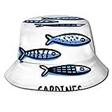 Sombrero de Cubo Un tamaño de ala Ancha Gorra de Verano Pesca y Viajes de Playa Portugal-Lugares de interés-Conjunto-Tradicional-Portugués-Sardinas...