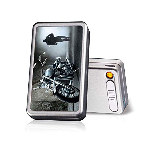 Cigarette Case with Lighter Built in USB Lighter Cigarette Box 2 in 1 Electronic Rechargeable Flameless Windproof Lighters Hold 20pcs Regular Cigarettes (Motorcycle)