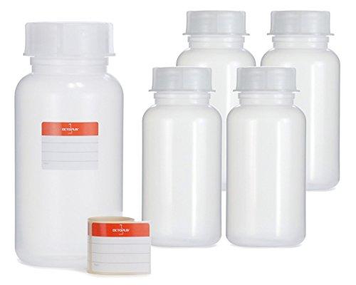 Octopus 5X 1000 ml Weithalsflaschen aus LDPE mit Schraubverschluß, Leere 1 Liter Chemiekalienflaschen, Laborflaschen mit Deckel als Aufbewahrungsbehälter für Labor, Küche oder Hobby
