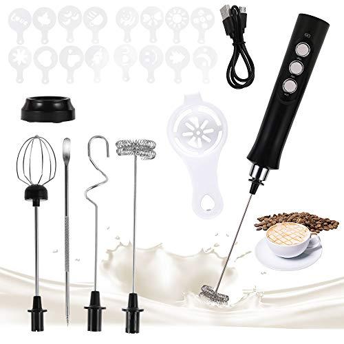 Elektrischer Milchaufschäumer Stab USB Wiederaufladbar Milk Frother 3-Gang USB Aufladbar Handheld Eiermixer Aufschäumer mit 3 Quirl und 16 Stück Latte Art Schablonen für Kaffee Latte Cappuccino