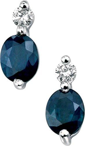 Elements Gold Ohrringe 9 Karat (375) Weißgold Diamant Saphir