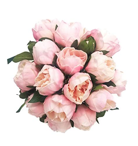 14 Real Touch Latex Peony Bunch Artificial Spring Flowers for Home Decor, Wedding Bouquets, and centerpieces (6 PCS) (Shabby Chic Pink)