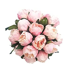 14″ Real Touch Latex Peony Bunch Artificial Spring Flowers for Home Decor, Wedding Bouquets, and centerpieces (6 PCS) (Shabby Chic Pink)